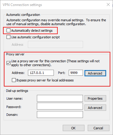 Configure VPN proxy settings - Sahi Pro